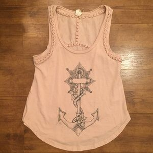 Free People We The Free Pink Anchor Tank Top Small